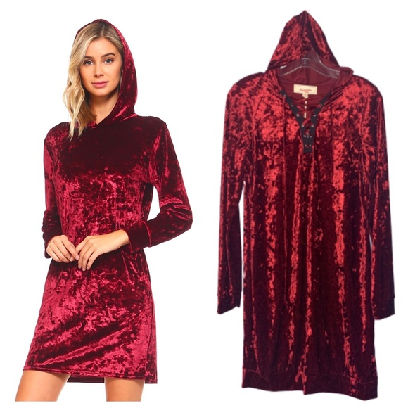 No Comment Dresses & Skirts - NWT No Comment Crushed Velvet Hoodie Dress